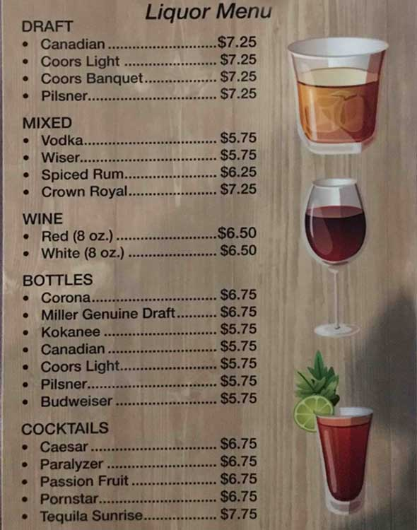 Liquor Menu